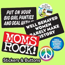 buttons and stickers with women themes