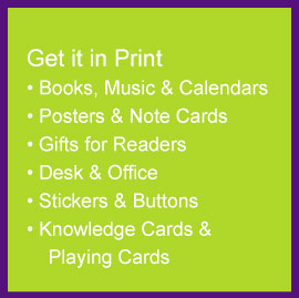 books, music, posters, note cards, stickers, buttons